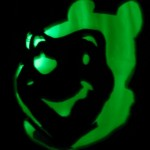 Pooh with a scary green glow