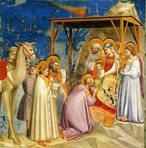 "Giotto - Scrovegni - -18- - Adoration of the Magi"" by Giotto - http://www.scienceblogs.de/astrodicticum-simplex/2008/12/der-stern-von-bethlehem.php. Licensed under Public Domain via Commons - https://commons.wikimedia.org/wiki/File:Giotto_-_Scrovegni_-_-18-_-_Adoration_of_the_Magi.jpg#/media/File:Giotto_-_Scrovegni_-_-18-_-_Adoration_of_the_Magi.jpg"