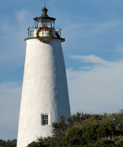 Ocracoke Lighthouse Decorated for Christmas