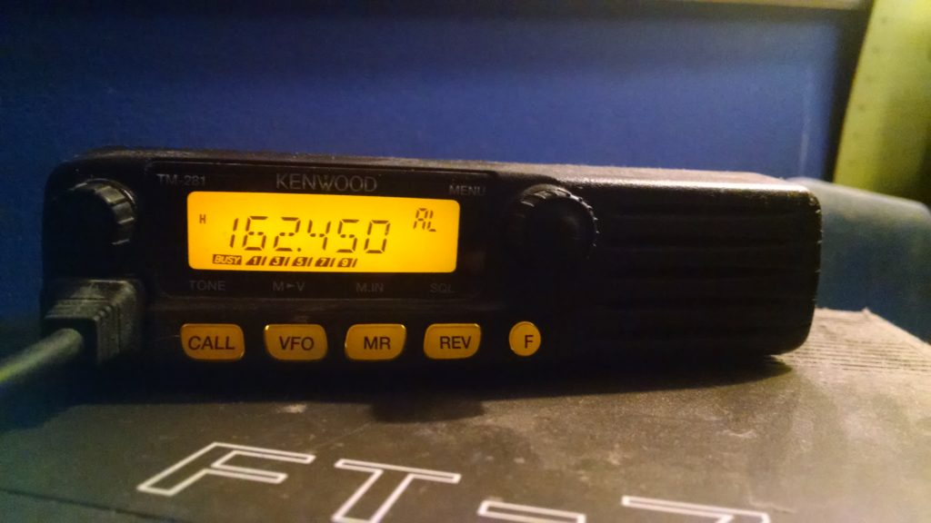 picture of Kenwood TM 281 tuned to weather radio