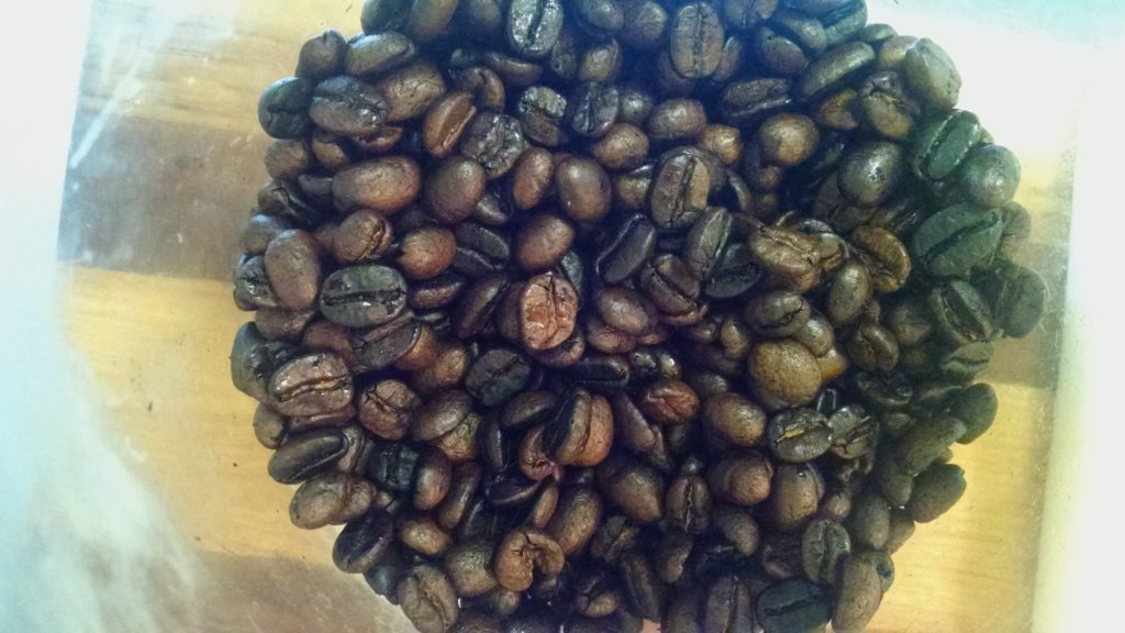 picture of old coffee beans roasted at home